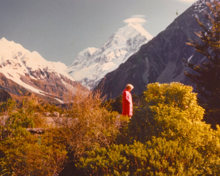 Flower A. Newhouse at Mt. Cook in New Zealand